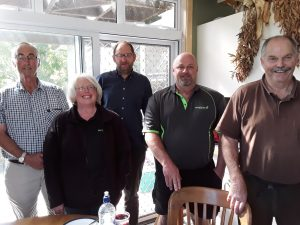 At the Canning farm – Alan Emerson, Bridget Canning, Craig Young (TUANZ), Shaun Minifie and John Canning