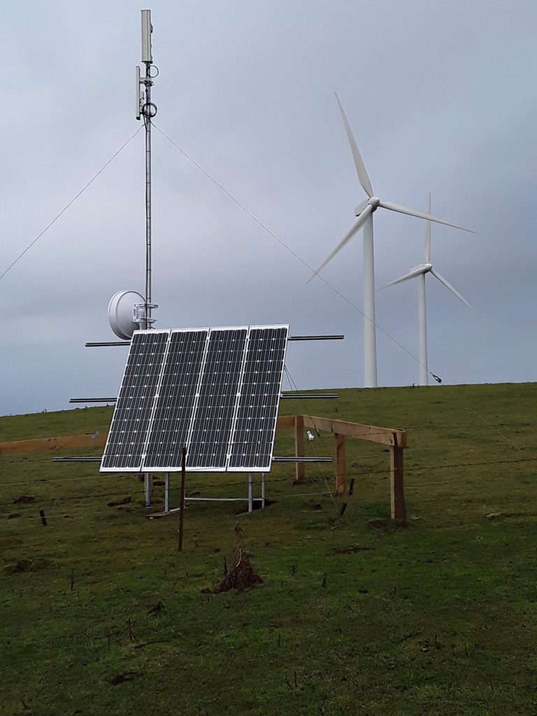 This antenna on Mount Stewart shares its windy location with 9 wind turbines. It's the first of Unifone's sites to be built under its RBI2 contract with Crown Infrastructure Partners. It was built in the company's workshop, then brought to the site and installed by three Unifone staff and fully functional inside a day.