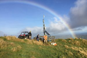 "On the Ruahine ranges – ""it's like rainbows follow us around, shame they normally mean rain's coming"""